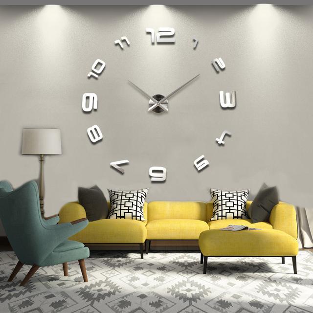 2016 new hot sale Living Room Quartz abstract  clock watch wall clocks horloge 3D DIY acrylic mirror Stickers