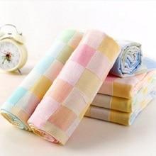 Newborn Baby Cartoon Double Gauze Face Handkerchief Towel Feeding Infant Square Towels Lattice Print