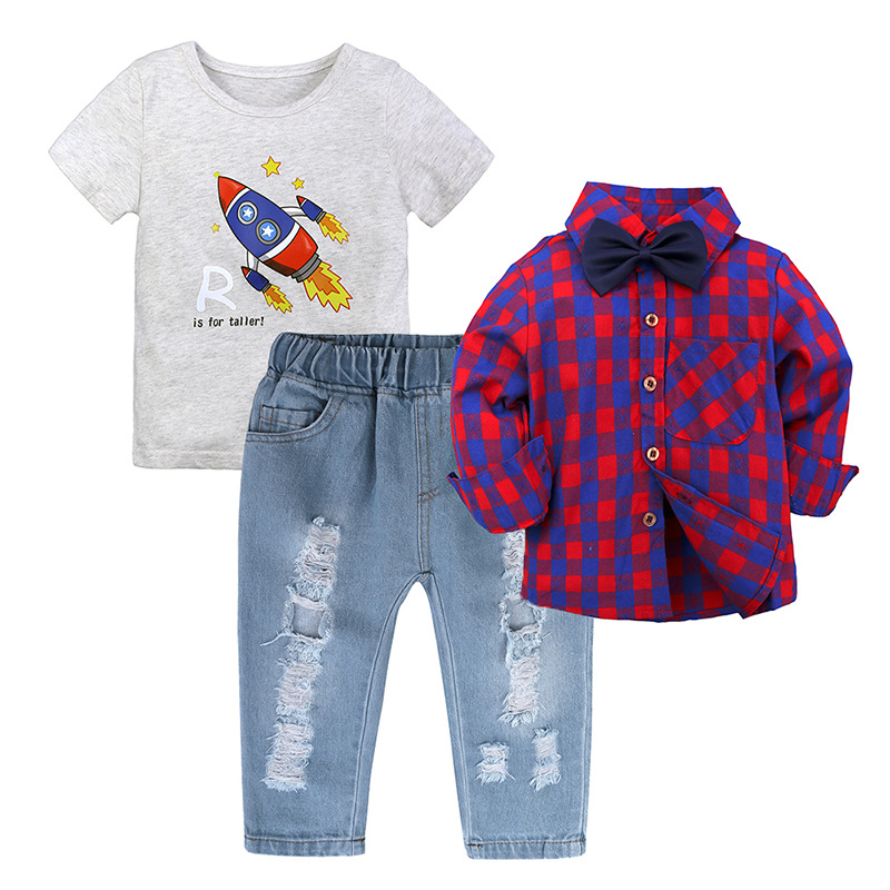 Kids Boys Clothes Set Rocket Cartoon Print T shirt Children Clothes Sets 3pcs Tshirt Hole Denim Pants long Sleeve Plaid shirt in Clothing Sets from Mother Kids