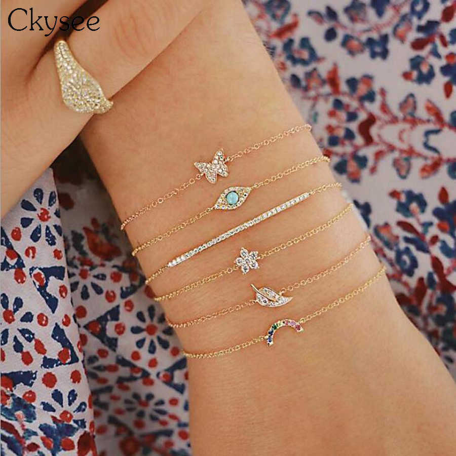 Ckysee 6Pcs/set Vintage Rainbow Leaf Butterfly Charm Bracelet Bangles For Women Adjustable Gold Multilayer Chain Bracelet Gifts