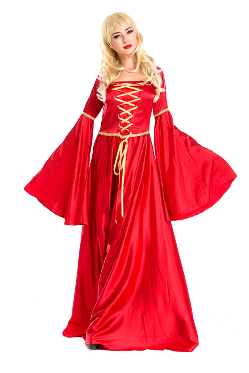 European and American Red Retro Court Dress British Noble Queen Dress Halloween Princess Dress