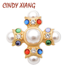 CINDY XIANG  Baroque Style Large Cross Brooches for Women Colorful Beads Inlay New Design Fashion Pin Brooch Spring Gift