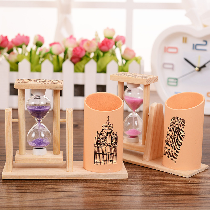 Creative Desktop Timer Rotary Hourglass Pen Container Students Office Stationery, Wooden Pens Holder Gift School Organizer