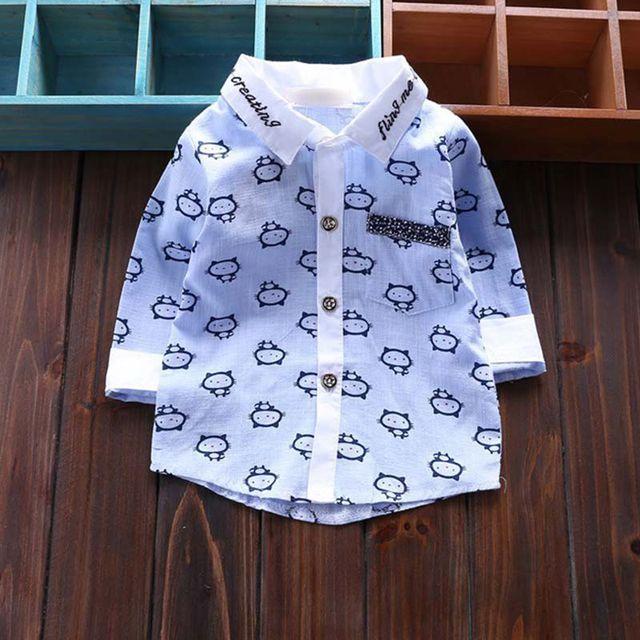 Новорожденный одежда вершины 2016 новая весна мультфильм с отложным воротником кардиган с длинными рукавами хлопок детский мальчик мода рубашки