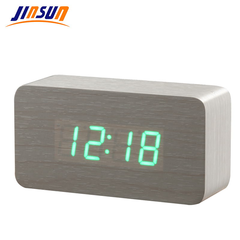 JINSUN Best High-end Alarm Clocks,Thermometer Wood Wooden LED Digital Voice Table Clock,Big Numbers Digital Clock KSW103-C-WH