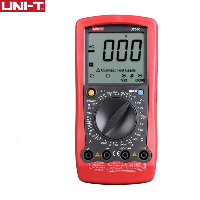 UNI-T UT58C Général Numérique Multimètres Pleine Icône LCD Affichage Température Fréquence Capacité Diode Transistor AC/DC Testeur