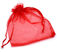Doreen Box Organza jewelry storage bags Drawstring Rectangle Red 12cm x9cm(4 6/8