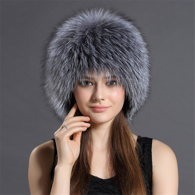 Warm Genuine Sliver Fox Fur Cap Winter Hat for Women's Hat Knitted Beanies Cap Thick Ladies' Cap Gift