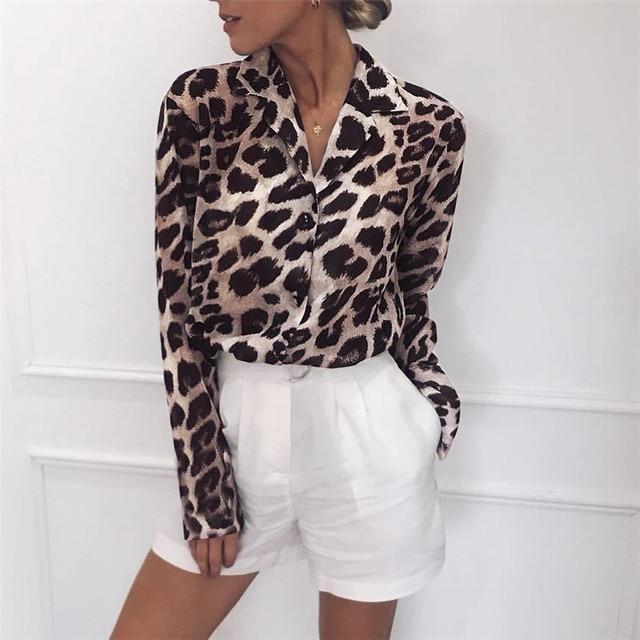 2019 Leopard Print Blouse Chiffon Tops for Women Long Sleeve Animal Print Shirt Elegant Office Ladies Tunic Blouses Plus Size