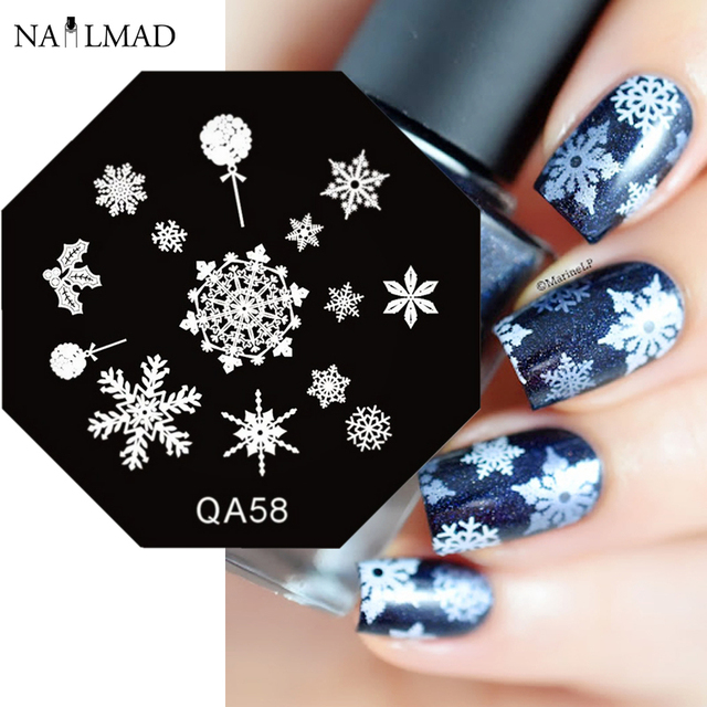 Snowflake Nail Art Stamp Template Winter Style Nail Stamping Plate ...