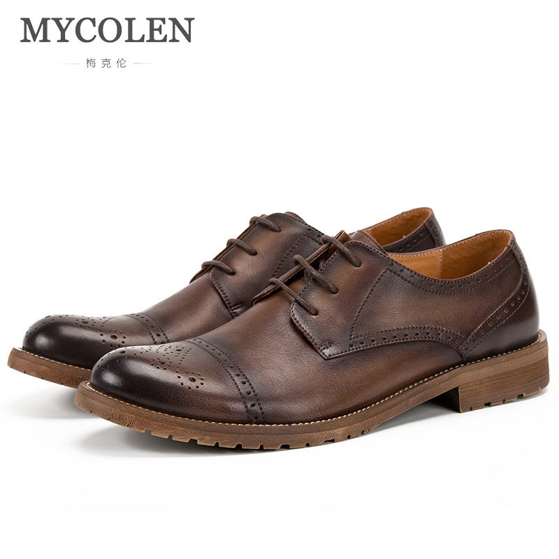 MYCOLEN 2018 New Leather MenS Shoes Brogue Shoes Leather Retro Derby Shoes High Quality England Dress Shoes MenS LeatherMYCOLEN 2018 New Leather MenS Shoes Brogue Shoes Leather Retro Derby Shoes High Quality England Dress Shoes MenS Leather