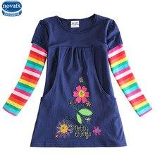 Novatx цветка горячие длинным дизайн детская платья девушки рукавом платье детские