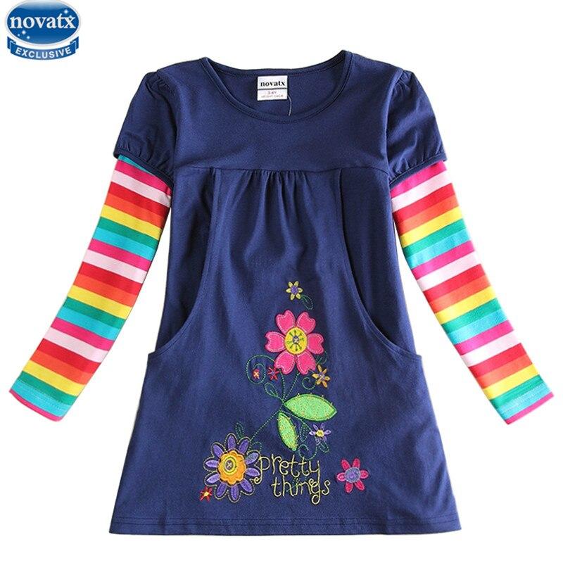 Novatx más nuevo diseño niñas flor vestidos niños ropa caliente vestidos niños Bebé Vestidos de manga larga vestido de ropa de bebé