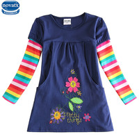 2015 Newest Design Girls Flower Frocks Children Clothes Hot Dresses Baby Dresses Long Sleeve Baby Clothes