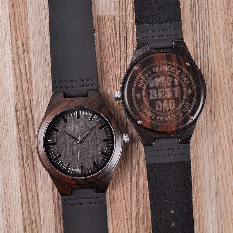 Personalized Engraved Wooden Watches Gifts For Dad,,Mom, friends, Birthday,Anniversary Day,Groomsman Gift(China)