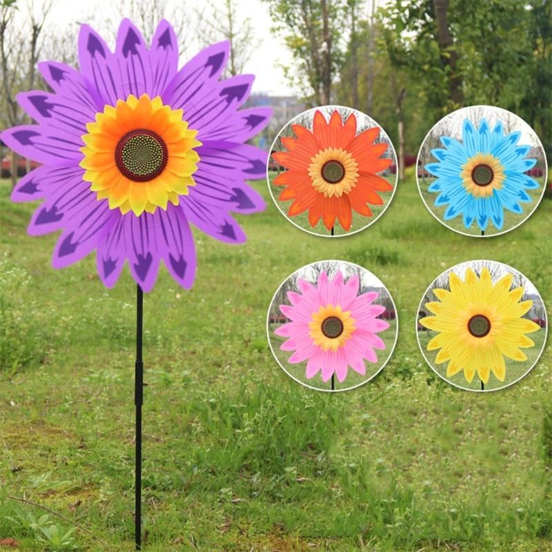 Large Double Layer Sunflower Windmill Wind Spinner Kids Toys Yard Garden Decor