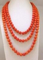 Лариат оранжевый бирюзой Цепочки и ожерелья Круглый 8 мм синий полудрагоценного камня бисера Длинные