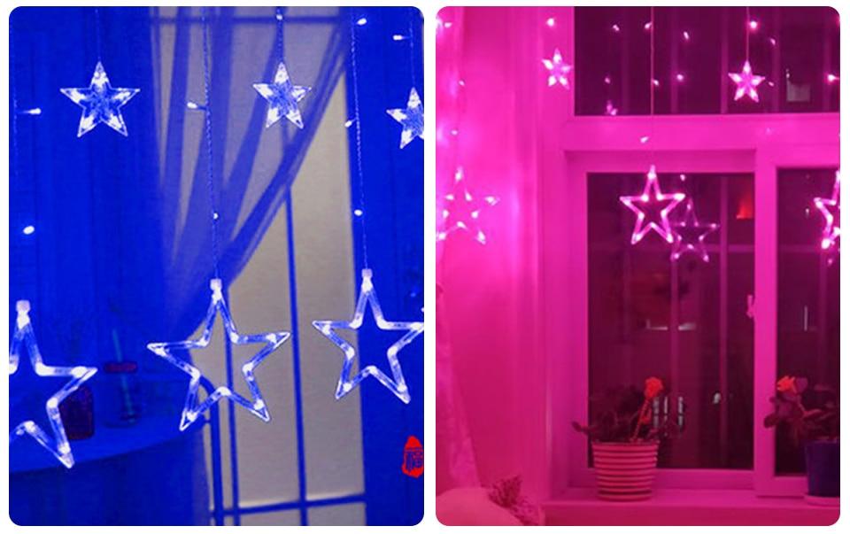 220V LED Holiday String New Year Pentagram Star Curtain Light Fairy Wedding Birthday Christmas Lighting Indoor Decoration Light (11)