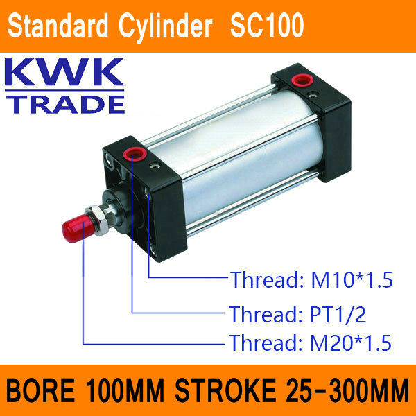 SC100 Standard Air Cylinder Mini Valve CE ISO Bore 100mm Strock 25mm to 300mm Stroke Single Rod Double Acting Pneumatic CylinderSC100 Standard Air Cylinder Mini Valve CE ISO Bore 100mm Strock 25mm to 300mm Stroke Single Rod Double Acting Pneumatic Cylinder