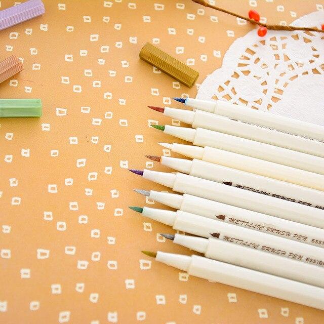 STA 10 Colors Metallic Marker Pen Set DIY Scrapbooking Crafts Card Making Brush/ Round Head Art Pen For Drawing 2