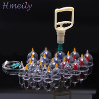24Pcs Medical Vacuum Cupping With Suction Pump Body Relaxation Massager Chinese Medical Cupping Sets GuaSha Healthy Massage Care