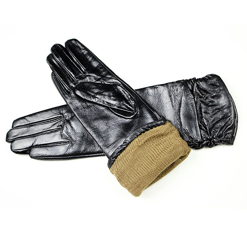 2018 Real New Guantes Long Leather Gloves Female Sheepskin Elbow Patent Velvet Lining Warm Arm Shields Free Shipping