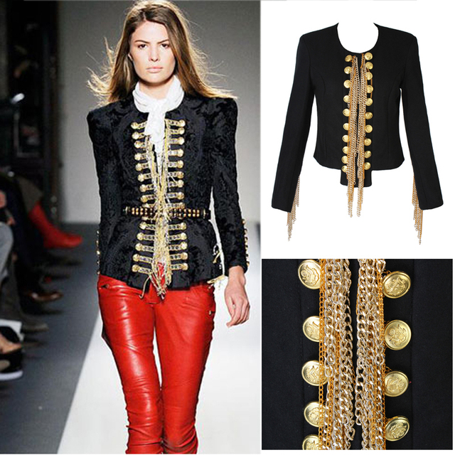 Womens wool blend short Uniform napoleon Jacket punk Power Shoulder Sleeve Tassel Military Metallic gold chiain