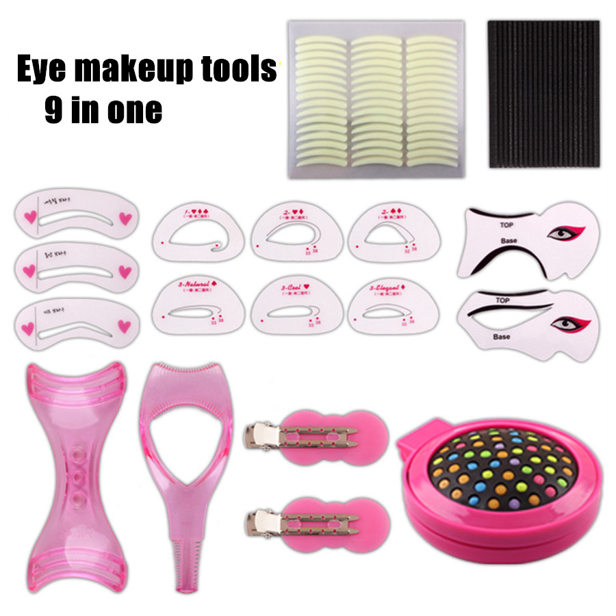 9 in one Fashion Lady Eye Makeup Tool Kit Eyebrow Stencil Eyeliner Eyeshadow Model Assistant Aid Beauty Portable Make Up Tool поло hackett london hackett london ha024emdvsh0