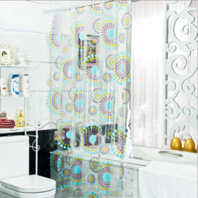 New Transparent Pvc Bathroom Shower Curtain Endless Printed Waterproof Moldproof Curtains Home Products Free Shipping