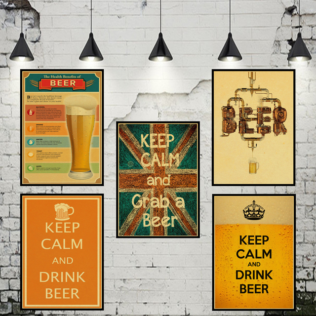 Vintage Posters For Kitchen Exhaust Fan Motor Coffee Beer Wine Collection Bars Drawings Adornment Poster Wall Stickers