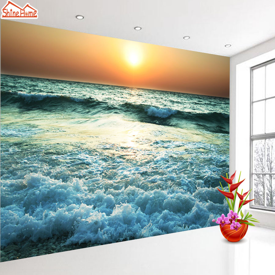 ShineHome-Skyline Sea Wave Sunset Seascape Wallpaper Rolls for 3d Walls Wallpapers for 3 d  Living Rooms Wall Paper Murals Roll shinehome sunflower bloom retro wallpaper for 3d rooms walls wallpapers for 3 d living room home wall paper murals mural roll