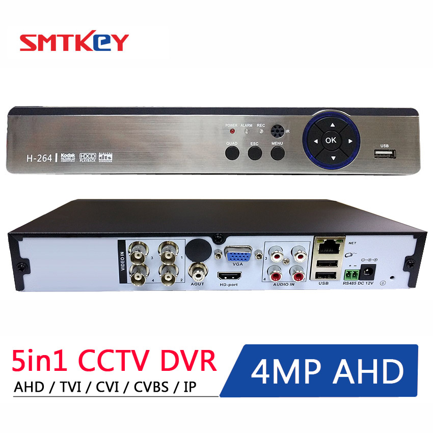SMTKEY Onvif P2p 5 IN 1 4MP AHD DVR NVR XVR CCTV 4Ch 1080P 3MP 5MP Hybrid Security DVR Recorder Camera