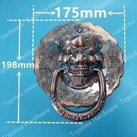 198mm diamètres Antique Chinois lion tête poignée de porte heurtoir poignée licorne bête