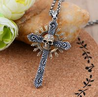 Monili all'ingrosso dell'argento sterlina 925 thailandia import nero argento croce pendente del cranio 046730 w personalità degli uomini