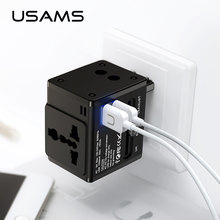 Global Conversion Socket Dual USB charger,USAMS Universal phone charger, support EU/US/UK/AU charger wall charging USB charger(China)