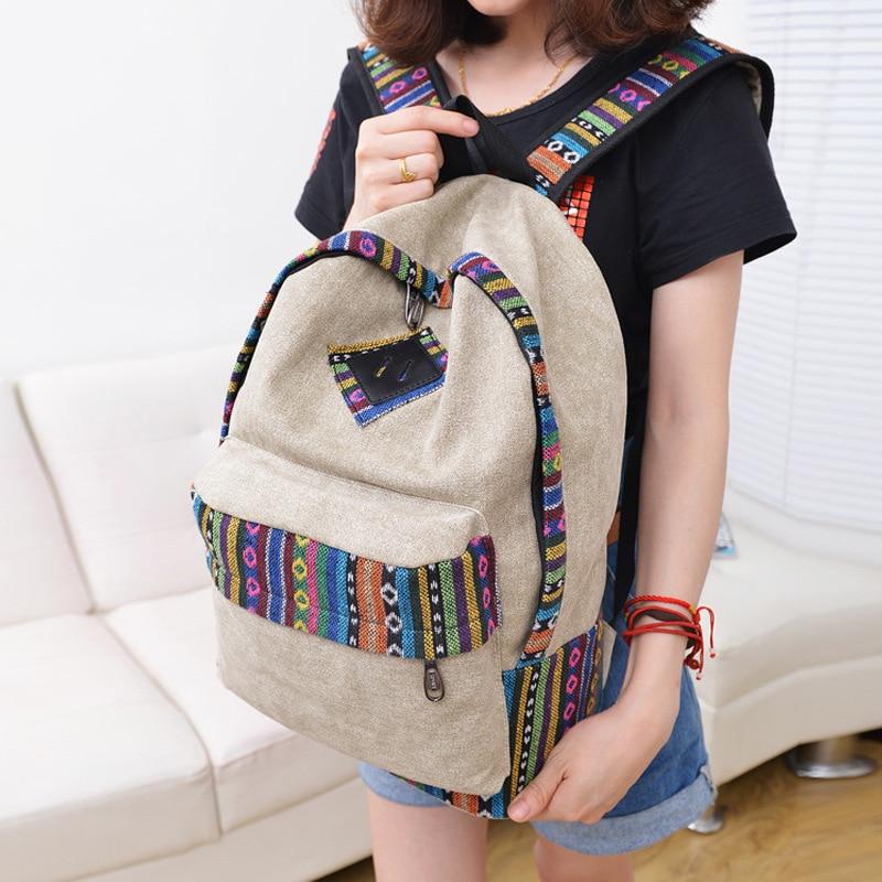 50pcs / lot 중국 스타일 여성 캔버스 배낭 학교 배낭 틴 에이저 걸스 캐주얼 여행 가방 노트북 Rucksock