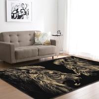 Nórdico leões de ouro sala de estar tapetes anti-deslizamento tapete sala estar área tapetes flanela macia grande decoração para casa tapete