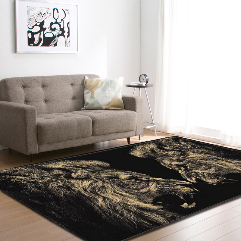 Nordic gold lions living room carpets anti slip mat parlor - Gold rugs for living room ...