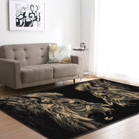 Nordic Gold Lions Living Room Carpets Anti slip Mat Parlor Room Area Rug Mats Soft Flannel Big Home Decoration Rug Carpet