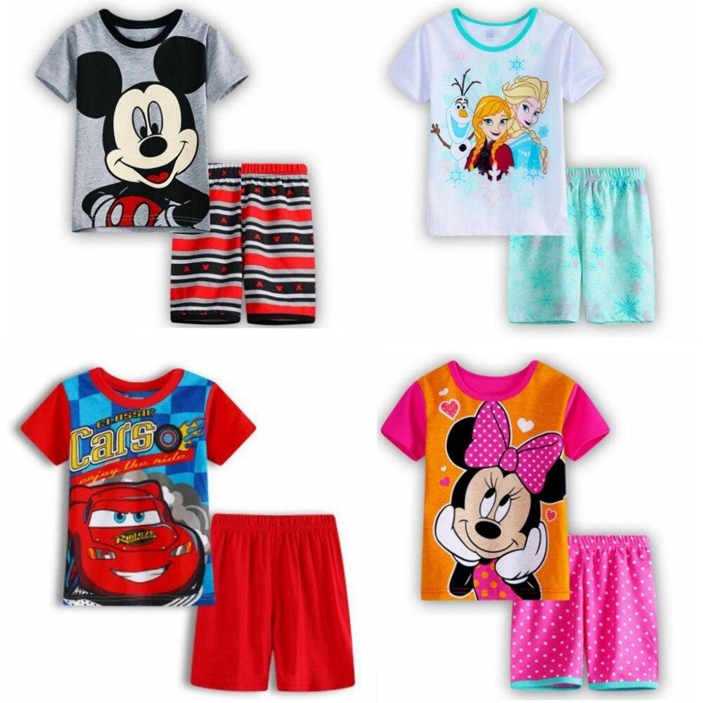 Summer Pure Cotton Automobile Childrens Pajamas Suit Serve Cartoon baby pajama set pyjama children boys clothes