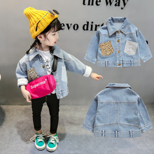 2019 Spring Girls Jacket New Korean Leopard Pocket Cotton Denim Children Jacket Tops turn down collar kids jeans outwear 2-5T недорого