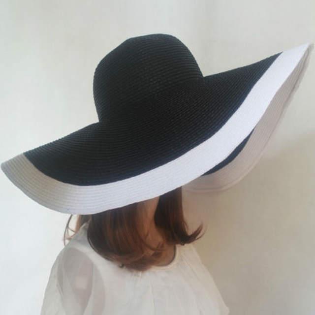 168413af36125 2017 new Women Wide Brim Hat Floppy Derby Hat Large Summer Beach Sun Straw  Hat Cap