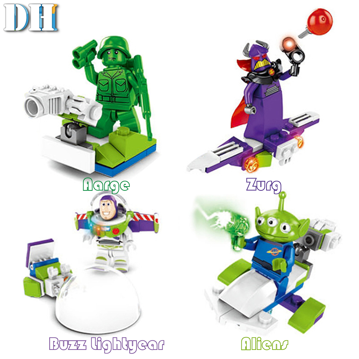 Image 4 - 8 in1 Toy Story 4 Figures Gremlins Gizmo Woody Buzz Lightyear Jessie Andy Super Mario Building Blocks Friend toys-in Blocks from Toys & Hobbies