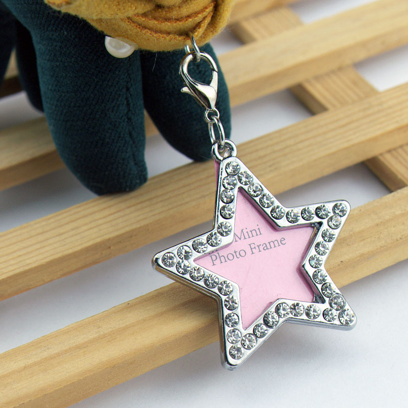 Five-pointed star shape key chain. can be placed photos or information, tie-in rhinestone, high-grade quality