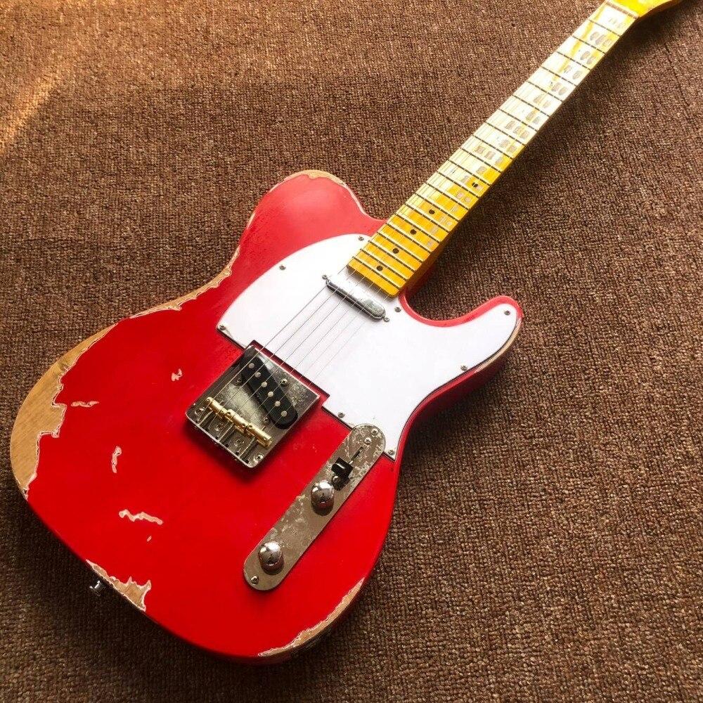Custom Shop. Новый ручной телепередачи gitaar, красный теле электрогитары реликвии руками. Мастер сборки relic TL guitarra. реальные фотографии
