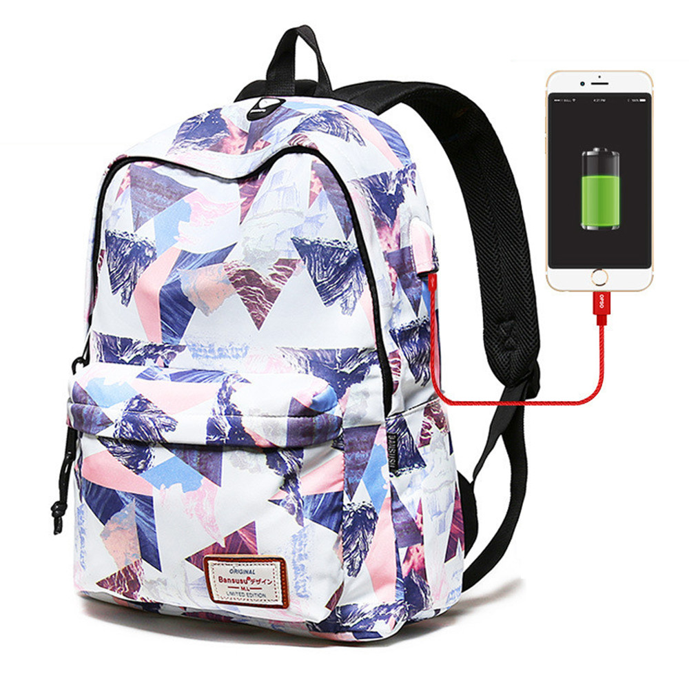 Women External USB Charge <font><b>Backpack</b></font> Girls <font><b>15.6</b></font>