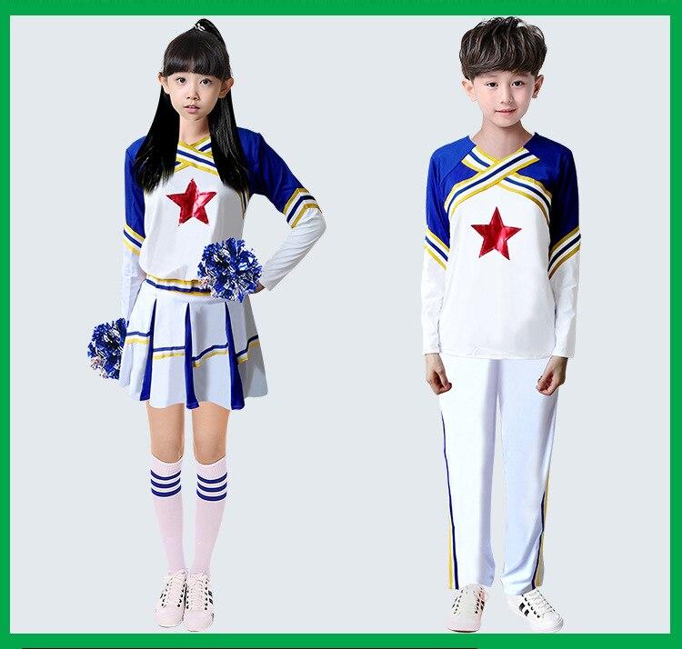 Children Competition Cheerleaders Team Uniforms Performance Costume Sets Girls Cheerleading Costume Children Hip Hop Kids Street