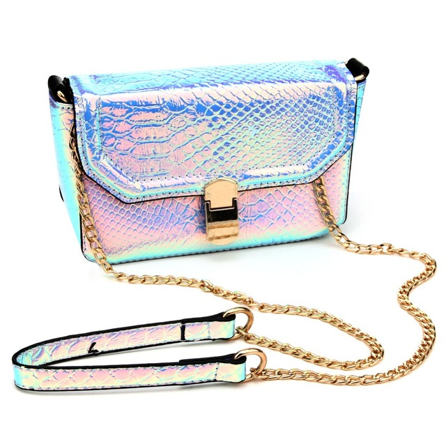 PU Laser Small Mini Flap Bag Women Messenger Bags Chain Serpentine Bolsa Luxury Handbags Women Bags Designer Crossbody Bags Sac