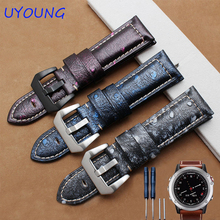 For Garmin Fenix 3 quality genuine leather watchband 26mm luxury ostrich pattern smart bracelet