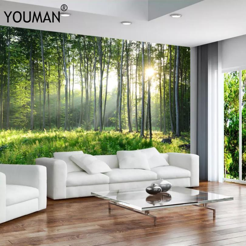 Custom Photo Wallpaper Green Forest
